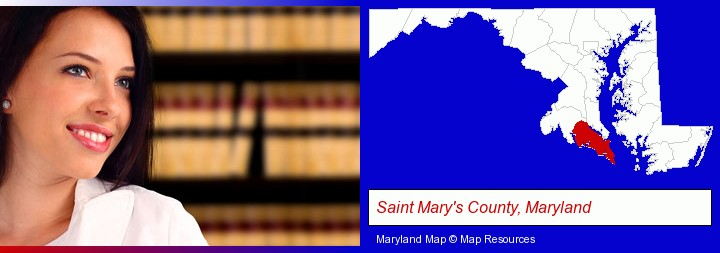 a young, female attorney in a law library; Saint Mary's County, Maryland highlighted in red on a map