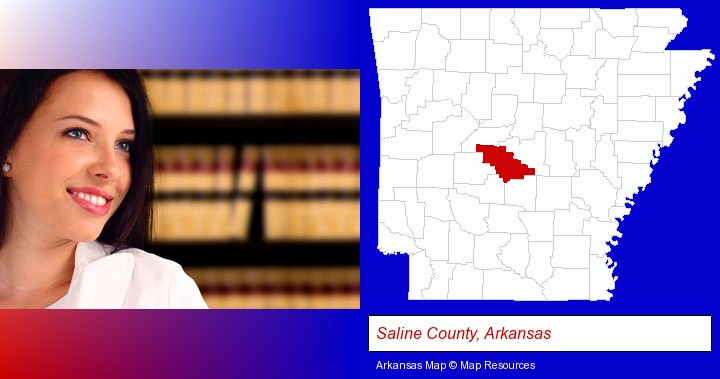 a young, female attorney in a law library; Saline County, Arkansas highlighted in red on a map
