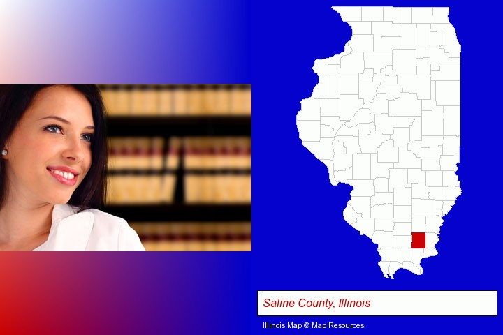 a young, female attorney in a law library; Saline County, Illinois highlighted in red on a map