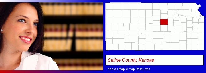 a young, female attorney in a law library; Saline County, Kansas highlighted in red on a map
