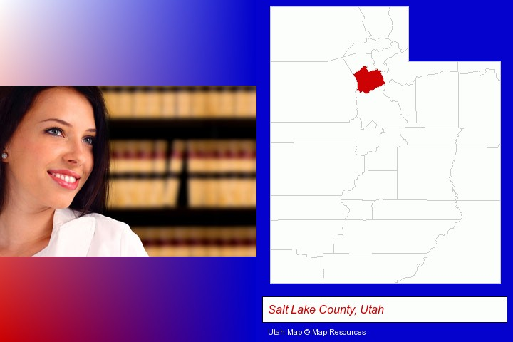 a young, female attorney in a law library; Salt Lake County, Utah highlighted in red on a map