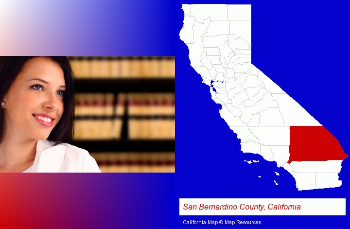 a young, female attorney in a law library; San Bernardino County, California highlighted in red on a map