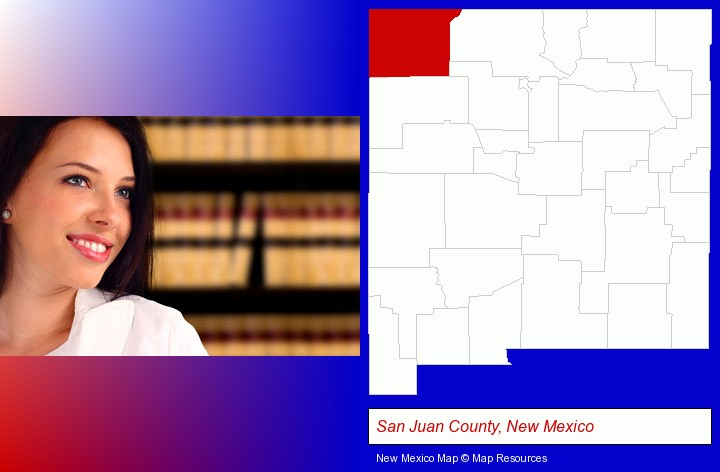 a young, female attorney in a law library; San Juan County, New Mexico highlighted in red on a map
