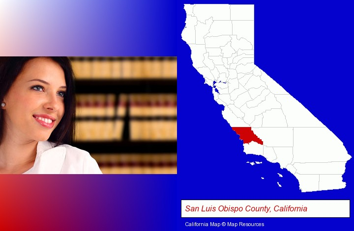 a young, female attorney in a law library; San Luis Obispo County, California highlighted in red on a map