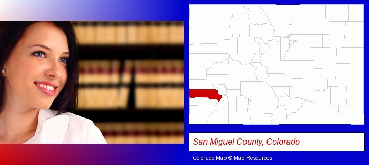 a young, female attorney in a law library; San Miguel County, Colorado highlighted in red on a map