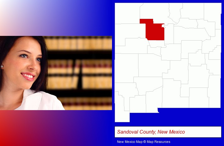 a young, female attorney in a law library; Sandoval County, New Mexico highlighted in red on a map