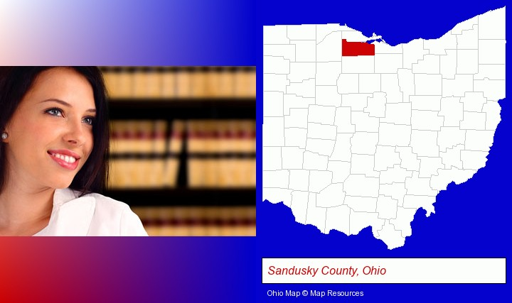 a young, female attorney in a law library; Sandusky County, Ohio highlighted in red on a map