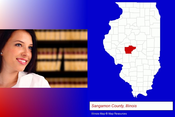 a young, female attorney in a law library; Sangamon County, Illinois highlighted in red on a map