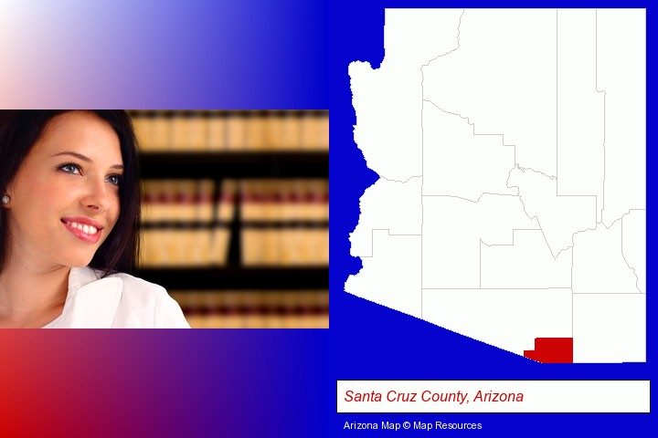 a young, female attorney in a law library; Santa Cruz County, Arizona highlighted in red on a map