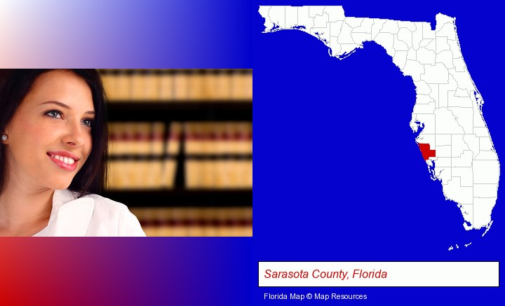 a young, female attorney in a law library; Sarasota County, Florida highlighted in red on a map