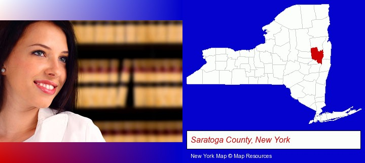 a young, female attorney in a law library; Saratoga County, New York highlighted in red on a map
