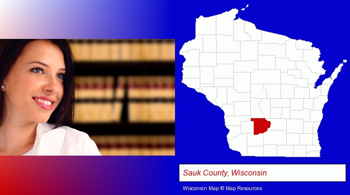 a young, female attorney in a law library; Sauk County, Wisconsin highlighted in red on a map