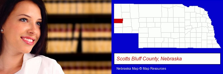 a young, female attorney in a law library; Scotts Bluff County, Nebraska highlighted in red on a map