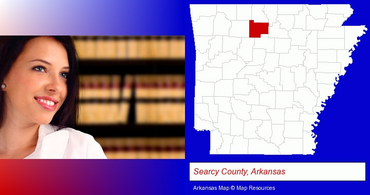 a young, female attorney in a law library; Searcy County, Arkansas highlighted in red on a map