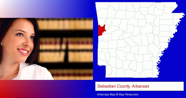 a young, female attorney in a law library; Sebastian County, Arkansas highlighted in red on a map