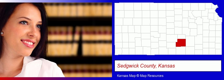 a young, female attorney in a law library; Sedgwick County, Kansas highlighted in red on a map