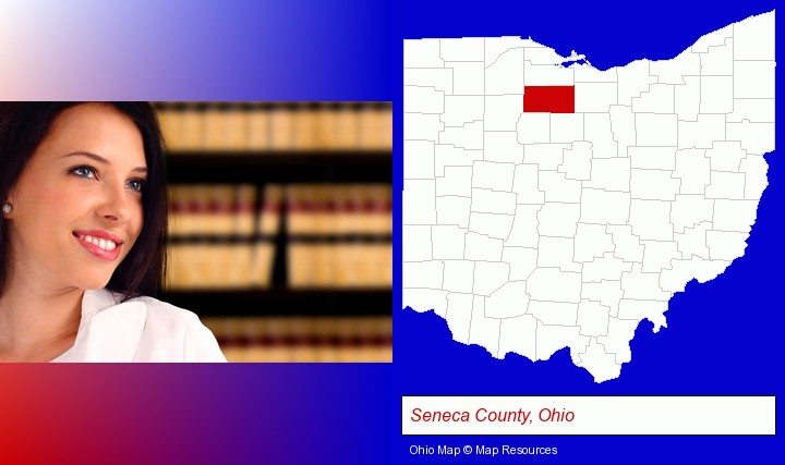 a young, female attorney in a law library; Seneca County, Ohio highlighted in red on a map