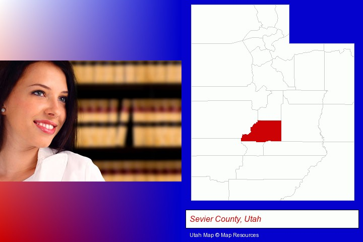 a young, female attorney in a law library; Sevier County, Utah highlighted in red on a map