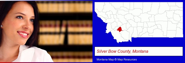 a young, female attorney in a law library; Silver Bow County, Montana highlighted in red on a map