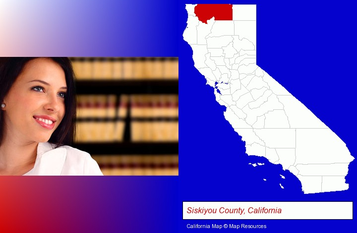a young, female attorney in a law library; Siskiyou County, California highlighted in red on a map