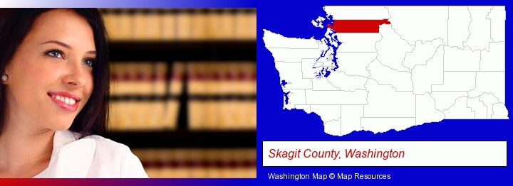 a young, female attorney in a law library; Skagit County, Washington highlighted in red on a map