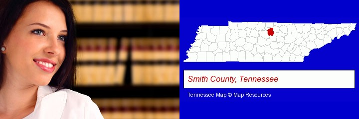 a young, female attorney in a law library; Smith County, Tennessee highlighted in red on a map