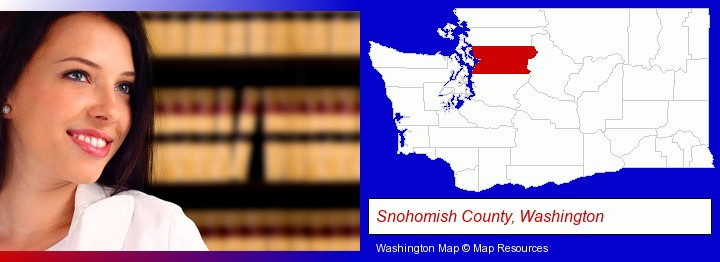 a young, female attorney in a law library; Snohomish County, Washington highlighted in red on a map