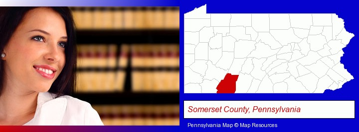 a young, female attorney in a law library; Somerset County, Pennsylvania highlighted in red on a map