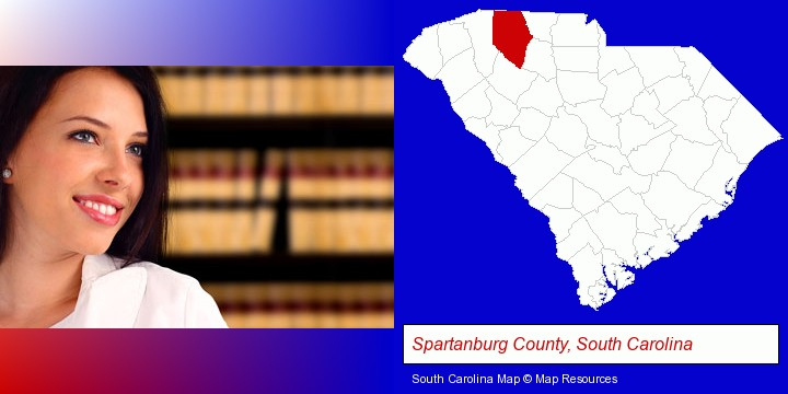 a young, female attorney in a law library; Spartanburg County, South Carolina highlighted in red on a map