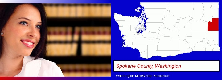 a young, female attorney in a law library; Spokane County, Washington highlighted in red on a map