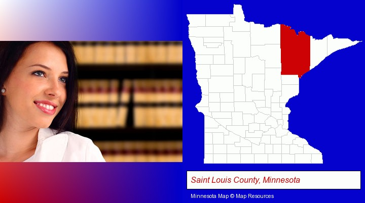 a young, female attorney in a law library; Saint Louis County, Minnesota highlighted in red on a map