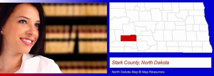 a young, female attorney in a law library; Stark County, North Dakota highlighted in red on a map