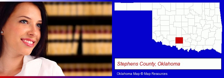 a young, female attorney in a law library; Stephens County, Oklahoma highlighted in red on a map