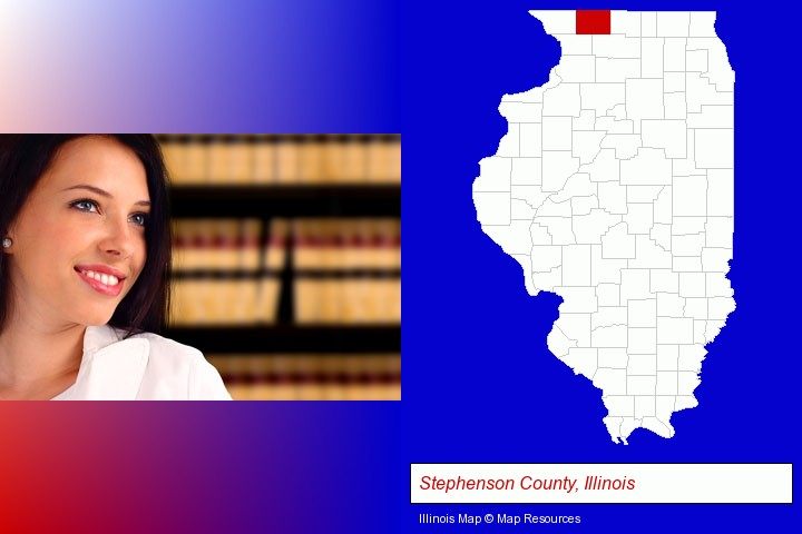 a young, female attorney in a law library; Stephenson County, Illinois highlighted in red on a map