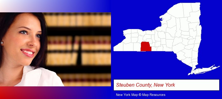 a young, female attorney in a law library; Steuben County, New York highlighted in red on a map