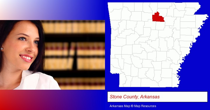 a young, female attorney in a law library; Stone County, Arkansas highlighted in red on a map