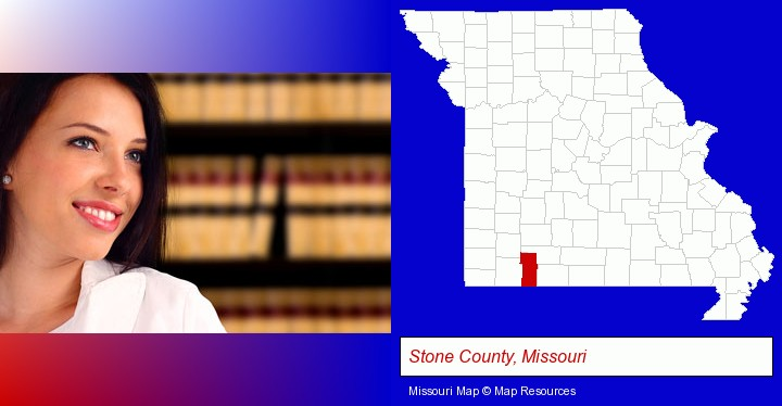 a young, female attorney in a law library; Stone County, Missouri highlighted in red on a map