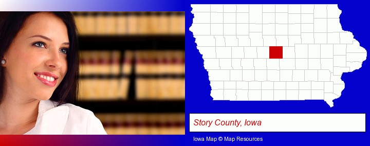 a young, female attorney in a law library; Story County, Iowa highlighted in red on a map