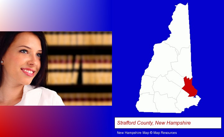 a young, female attorney in a law library; Strafford County, New Hampshire highlighted in red on a map