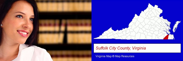 a young, female attorney in a law library; Suffolk City County, Virginia highlighted in red on a map