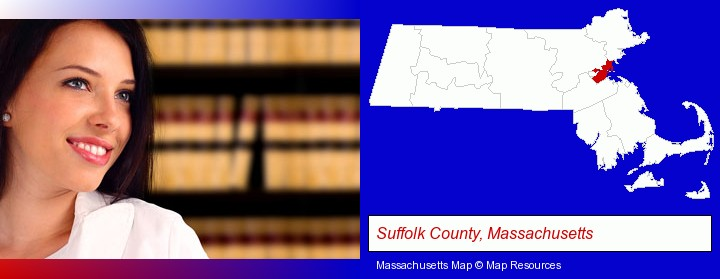 a young, female attorney in a law library; Suffolk County, Massachusetts highlighted in red on a map