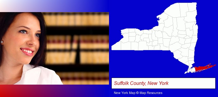 a young, female attorney in a law library; Suffolk County, New York highlighted in red on a map