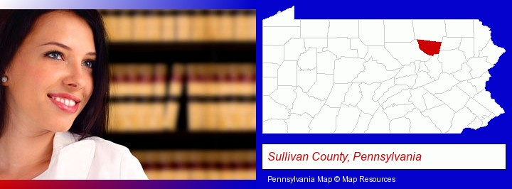 a young, female attorney in a law library; Sullivan County, Pennsylvania highlighted in red on a map
