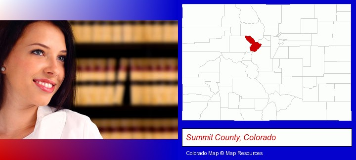 a young, female attorney in a law library; Summit County, Colorado highlighted in red on a map