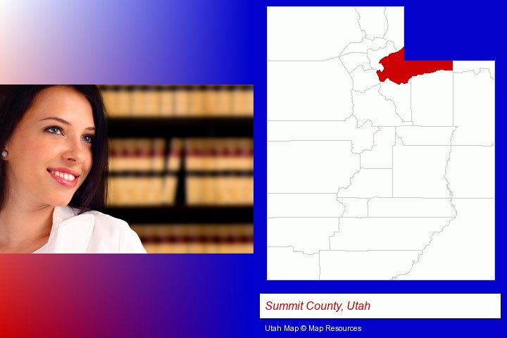 a young, female attorney in a law library; Summit County, Utah highlighted in red on a map