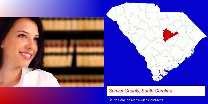 a young, female attorney in a law library; Sumter County, South Carolina highlighted in red on a map