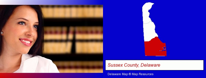 a young, female attorney in a law library; Sussex County, Delaware highlighted in red on a map