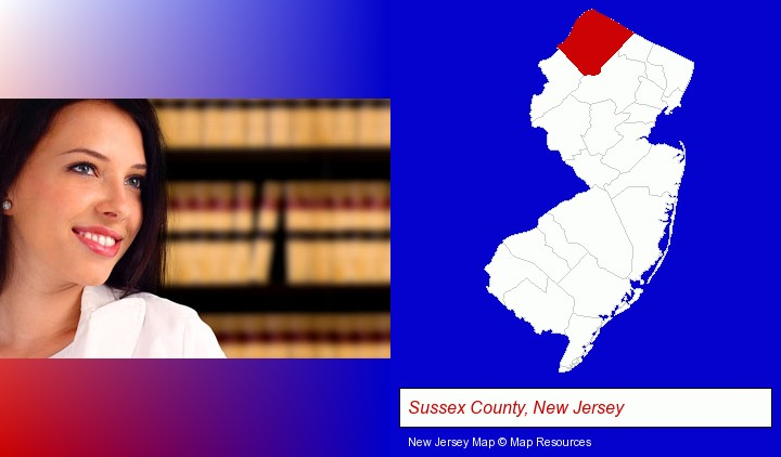 a young, female attorney in a law library; Sussex County, New Jersey highlighted in red on a map