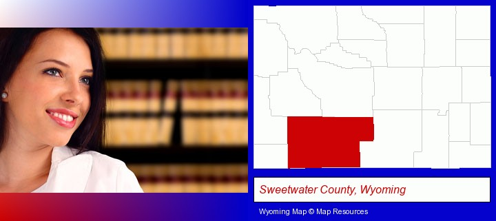 a young, female attorney in a law library; Sweetwater County, Wyoming highlighted in red on a map