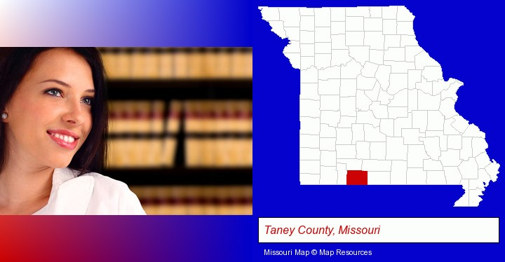 a young, female attorney in a law library; Taney County, Missouri highlighted in red on a map